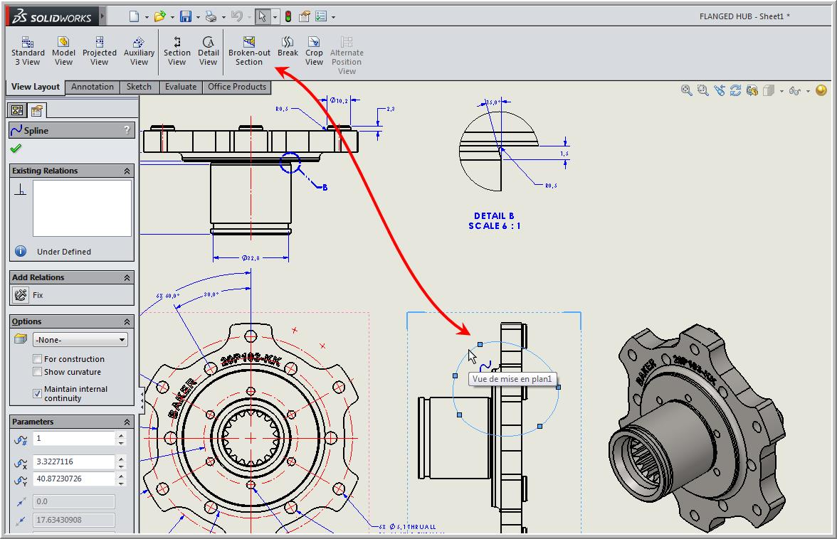 Broken Out Section View In A Drawing Solidxperts Basics Of Schematics Solidworks Electrical 2d Once The Spline Is Closed Menu Will Appear Command Manager Click On Preview To See Your Cut More Clearly